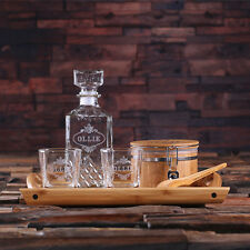 Personalized 6 Whiskey Glasses, Whiskey Decanter Set Ice Bucket Tong, Wood Tray