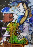 Lysiane D. COSTE technique mixte sur papier painting on paper 29/42 cm 2020