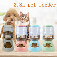 Pet Dog Cat Automatic Water Dispenser Food Dish Bowl Feeder 3.8 L ZB_Q