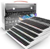 100 Color Dual Punta Acuarela Rotuladores Dibujo Pintura Cepillo Set Base Agua