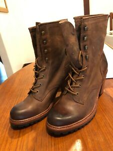 New FRYE Women's Lucy Lace-Up Boot 11 brown