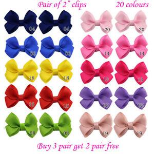 "2"" 2 inch small Baby Girls kids Ribbon Hair clip Bows clips cute bow School Pair"