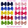 "2"" 2 inch small Baby Girls kids Ribbon Hair clip Bows clips cute bow School Pair"