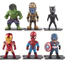 6 Pcs Marvel Avengers Thanos Iron Man Hulk Q Action Figure Model Cake Topper
