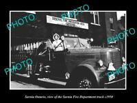 OLD LARGE HISTORIC PHOTO OF SARNIA ONTARIO CANADA , THE FIRE STATION TRUCK c1950