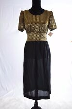 CGJ Vintage Womens Dress Gold Black Big Bow   Sz 9 Made in USA  (N)