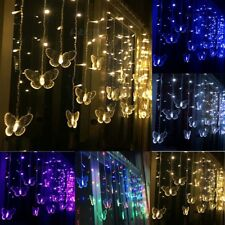 96LED Butterfly String Curtain Lights Colorful Wedding Room Decor Lamp Gift
