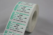 Roll 1000 Personalised Visual Inspection Labels 51 x 25mm Stickers Scratch Proof