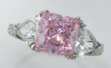 2.5 ct Pink Princess Filligree Ring Top CZ Moissanite Simulant SS Size 8