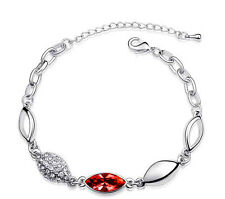 Elegant Red Water Drop and Silver Crystal Bracelet BB54R