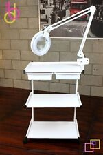 Skin Care Beauty RollingTrolley Cart 3 Shelves w/ attachment HOLDER for Mag Lamp