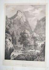 1825 GOLA DI AMALFI Coignet rara litografia Napoli Campania