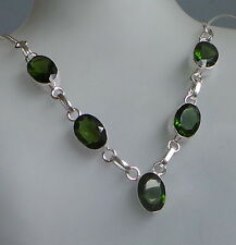 silver plated necklace  with 5 EMERALD colour crystals crab  lock . length51 cm