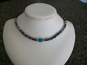 Mens Summer Beach Jewelry, Magnetic Choker Necklace with Puka shell or Turquoise