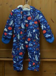 Boden Printed Waterproof Snowsuit 18-24 Months blue, animal theme.