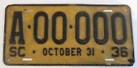 1936 South Carolina Sample License Plate Original