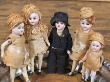 """Family of 5 Antique German? Bisque Dollhouse Dolls w/Vintage Clothing 4""""tall"""
