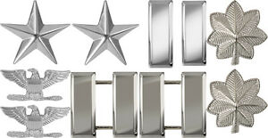 Silver Chrome Shiny Polished Military Ranking Insignia Set Pin On - USA MADE