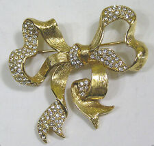 Vtg Jewelry MONET Signed Bow Brooch Goldtone Ribbon Pave Rhinestones
