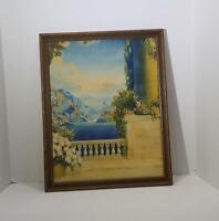 Art Deco Robert Atkinson Fox Tinto Gravure Balcony Lithograph Print in Frame
