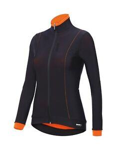 Women's Passo Long Sleeve Cycling Jersey in Black/Orange - Size XS - by Santini