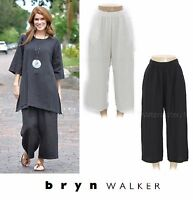 BRYN WALKER  Light Linen FLOOD PANT Wide Crop Pocket Pants 1X 2X 3X  BLACK WHITE