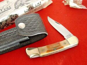 "Parker Japan Made 5"" closed bone stag BIG LOU Lockback Lock Blade knife MINT"