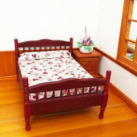 1:12 Dollhouse Mini Wooden Bed With Pillow Furniture Model Doll House Decor TSE