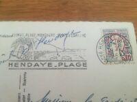 Timbre sur carte MARIANNE JEAN COCTEAU CACHET HENDAYE PLAGE 1963
