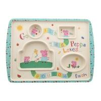 Peppa Pig Bamboo Game Plate Childrens Fussy Eaters Sectioned Food Meal Tray
