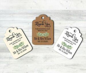 Personalised Wedding Tags Labels Thank You For Sharing Our Special Day + Twine