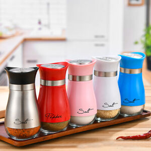 1X Refillable Salt Pepper Stainless Steel Glass Bottom Dispenser Seasoning Can