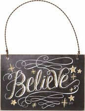 "NEW!~Christmas Wood Ornament Sign~""Believe""~Tree/Wreath/Plaque/Star/Primitive"