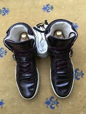 GUCCI Scarpe Da Uomo Scarpe Da Ginnastica Alte Top BROWN IN PELLE HORSEBIT Sneaker UK 9 US 10 43