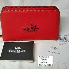 Coach X Disney Mickey Mouse Calf Leather Zipper Cosmetic Case BRT RED F59820 NWT