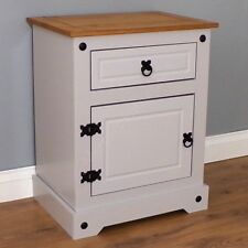 Corona Grey Chunky Pot 1 Door 1 Drawer Bedside Table Cabinet Mercers Furniture®