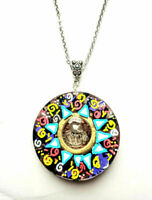 Mandala pendant Herkimer diamond, orgonite orgone, hand painted, chakra