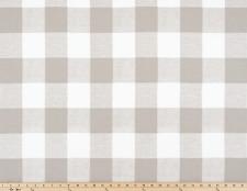 Anderson Ecru White Plaid Drapery Fabric, Beige Buffalo Check Fabric Yardage