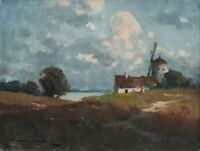 Landscape Oil Painting on Canvas Windmill Painting Hungarian Art Endre Komaromi