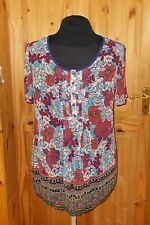 PER UNA cyan navy blue red floral chiffon short sleeve tunic blouse shirt top 16