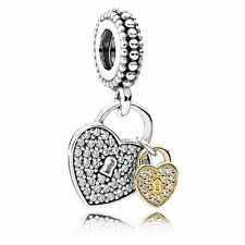NEW AUTHENTIC PANDORA Silver 14K Gold Love Locks Heart Dangle Charm 791807CZ