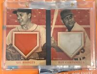 2013 Panini America's Pastime Gil Hodges Roy Campanella dual relic booklet 9/25