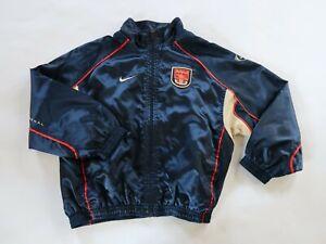 Arsenal Soccer Futbol Boys Nylon LS Full Zip Navy Blue Track Jacket Nike Youth L