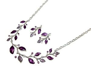 Purple Enamel Leaf Necklace and Earrings Set with Crystals and Purple Enamel NEW