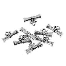 60pcs Graduate degree diploma scroll Antiqued Silver Bead 3D charms Pendants