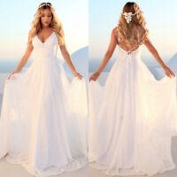 Summer Women Lace Long Dress Backless Bridesmaid Party Beach Boho Sundress AU