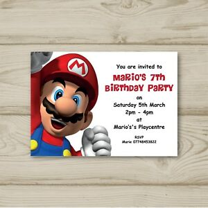 10 Personalised Super Mario Children Birthday party invitations Nintendo