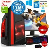 Fast Gaming PC Computer Bundle Intel Quad Core i5 8GB 1TB Windows 10 2GB GT710