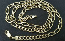14k two color solid gold diamond cut figaro pave  chain,5 mm, 24 inch, italy