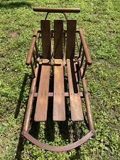 Vintage Antique Wooden BABY K Sleigh Sled with Retractable Wheels - L@@K!!
